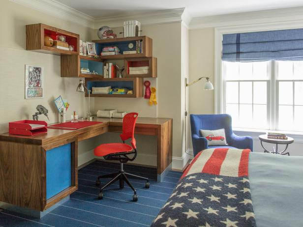 Red and Blue Country Kid's Room With Flag Throw