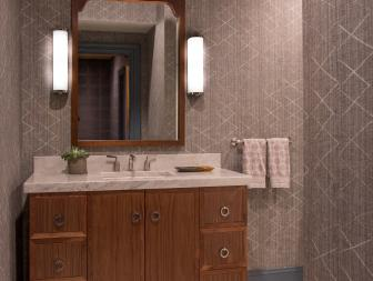 Gray Powder Room With X Wallpaper