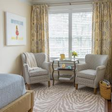 Yellow Transitional Bedroom With Zebra Rug