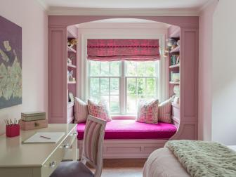 Pink Girl's Room With Window Seat
