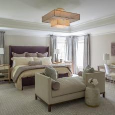 White and Purple Transitional Bedroom With Chaise