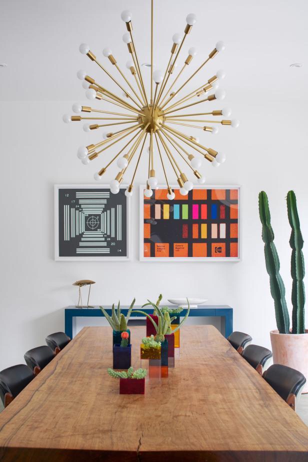 Colorful Dining Room With Sputnik Chandelier