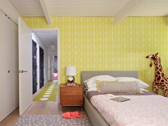 Chartreuse Accent Wall in Kids Room