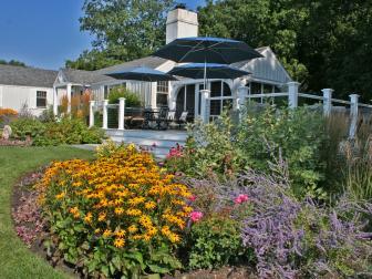 Garden and Deck With Umbrellas