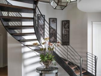 Contemporary Foyer With Metal Spiral Staircase