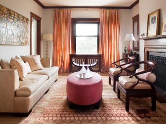 Transitional Living Room With Red Velvet Ottoman