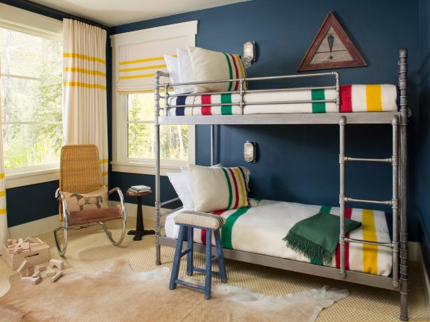 Blue Country Bedroom With Pipe Bunk Bed