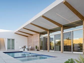 Modern Pool Area With Exposed Beam Overhang