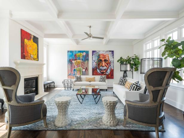 White Eclectic Living Room With Art