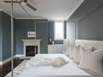 Gray Master Bedroom With White Bed