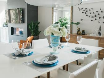 Black and White Contemporary Coastal Dining Room With Fish