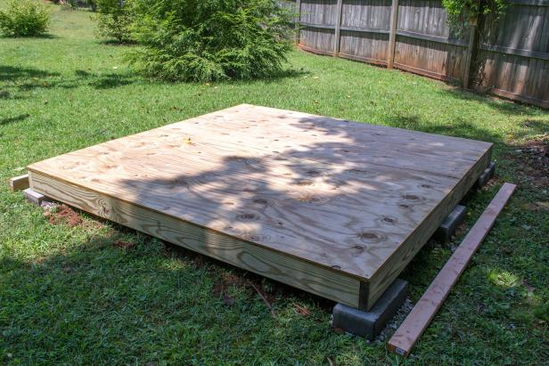 Attach the plywood floor using 2-inch exterior screws spaced twelve inches apart around the edges and along the joists.