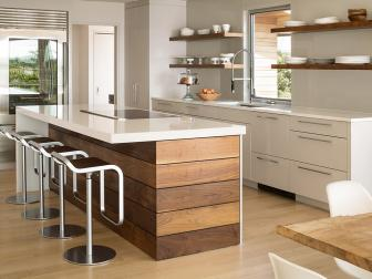 White Modern Kitchen With Wood Island