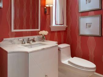 Red Powder Bathroom With Wallpaper
