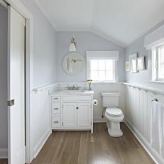 Single Vanity, Coastal Bathroom In Gray And White