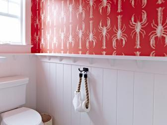 Coastal Bathroom Boasts Lobster Wallpaper