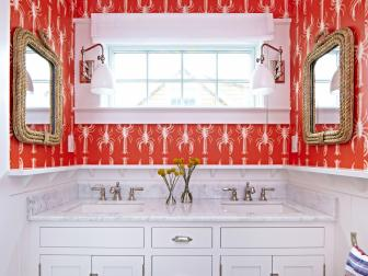 Coastal Bathroom With Cherry Red Lobster Wallpaper