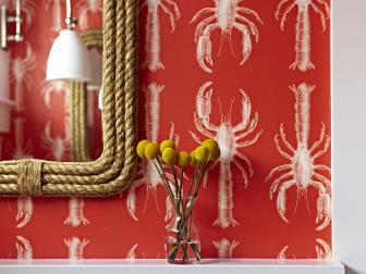 Bathroom Detail of Lobster Wallpaper