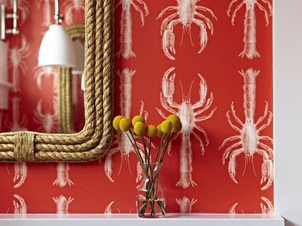 Bathroom Detail of Lobster Wallpaper