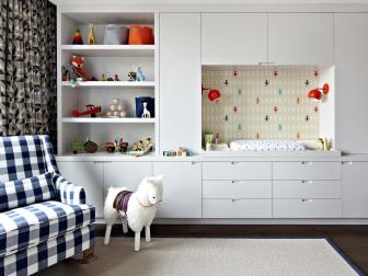 Contemporary Boy's Nursery With Built-In Changing Station