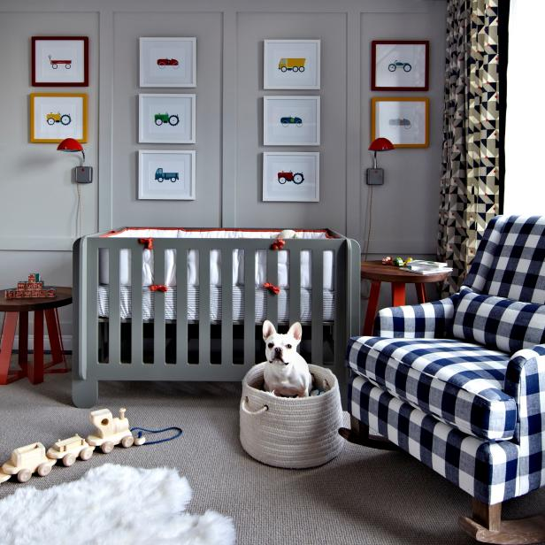 Contemporary Boy's Nursery With Art Wall