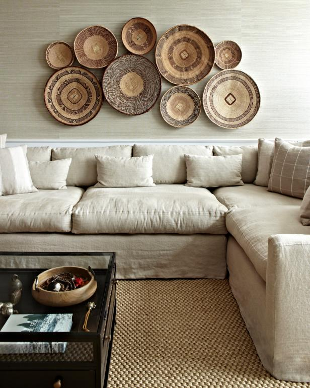 How to create basket walls hgtv 39 s decorating design Over the sofa wall decor ideas