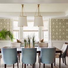 Neutral Transitional Dining Room With Blue Chairs