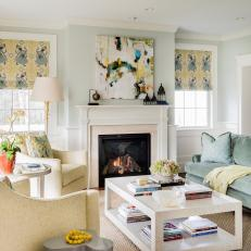 Blue Transitional Living Room With Yellow Armchairs