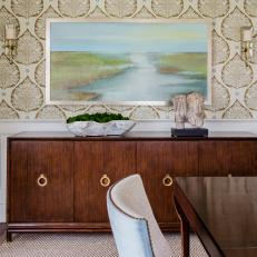 Gold Leaf Wallpaper in Dining Room