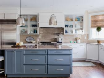 Neutral Transitional Kitchen With Blue Island