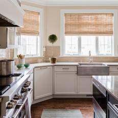 Tan Kitchen With Woven Shades