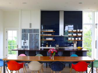 Contemporary Eat-In Kitchen With Colorful Dining Chairs