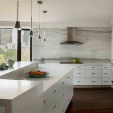 Artistic Features in Modern Kitchen Complement Beautiful Boston Views
