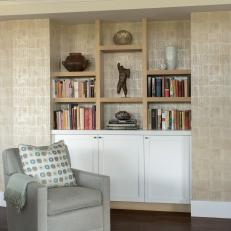 Custom Bleached White Oak Display Shelves and White Matte Cabinets Help Maintain Neutral Color Palette