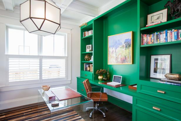Contemporary Home Office With Emerald Green Desk