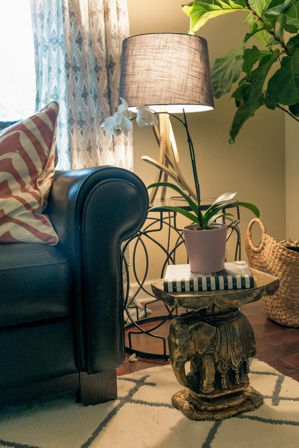Living Room Makeover with End Table, Geometric Rug and Ikat Curtains