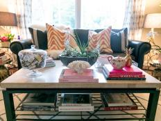 Eclectic Living Room with Coffee Table Styled by a Designer