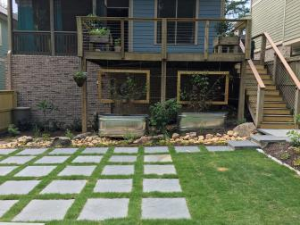 Deck with Hanging Screens and Troughs as Garden Beds