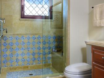 Walk-In Shower in Traditional Guest Bathroom