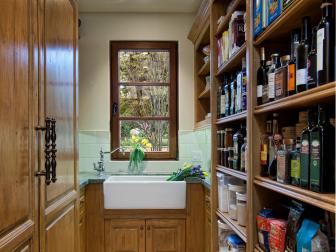 Traditional Butler's Pantry With Farmhouse Sink