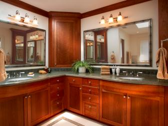 Craftsman Master Bathroom With Double Vanities