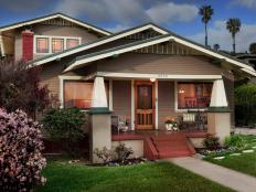 Brown Craftsman Bungalow Exterior and Porch