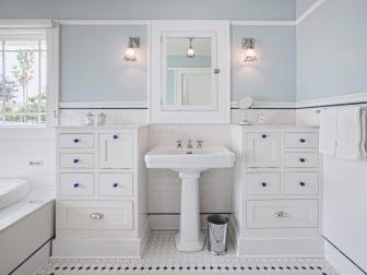 Blue and White Bathroom With Blue Pulls