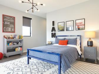 Gray Contemporary Kid's Room With Blue Bed