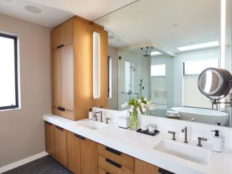 Modern Master Bathroom With White Countertops