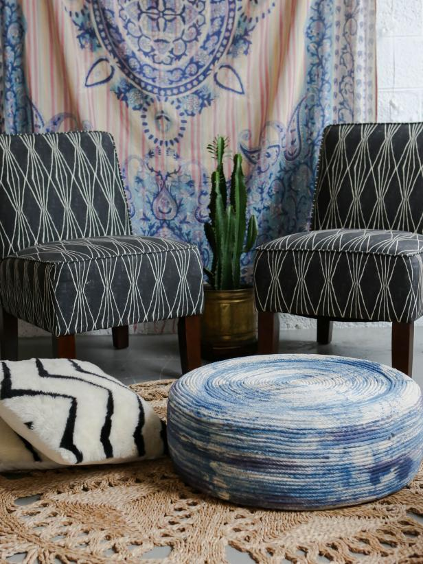 Diy Indigo Rope Ottoman For Indoors Or Outdoors Hgtv 39 S