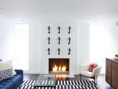 Contemporary Fire Place with Statue Wall Art