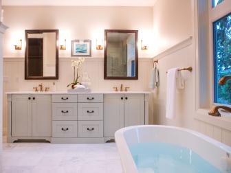 Neutral Country Double Vanity Bathroom With Tub
