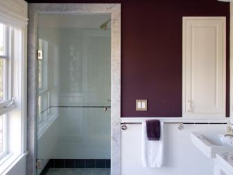 Purple Bathroom With Gray Floor