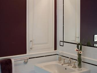 Purple Guest Bathroom With Two Sinks